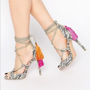daisy street lace up tassel heels